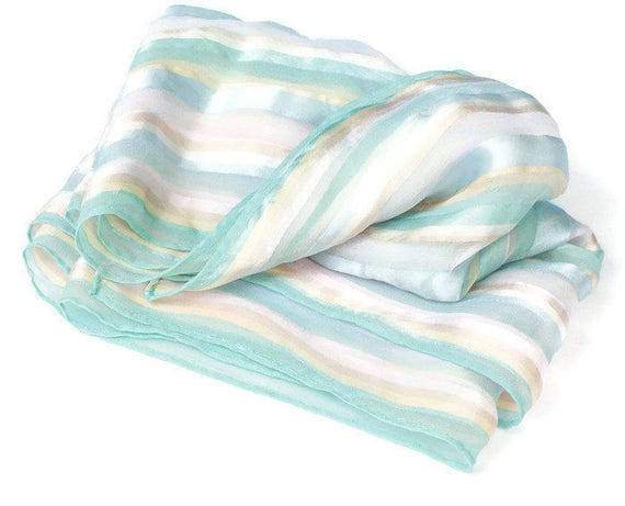 Pastel Striped Scarf Oblong 52 Inches Long Vintage