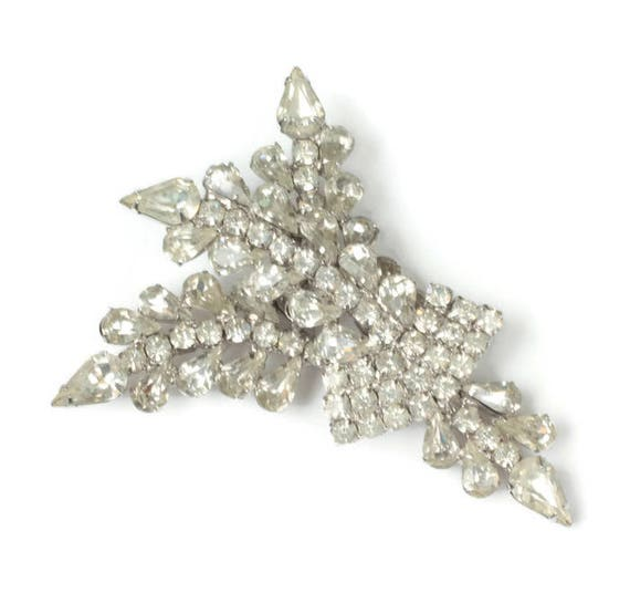 Vintage Clear Rhinestone Statement Brooch Layered Large Unusual Design