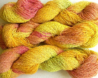 Sparkle, Hand painted fine cotton/metallic yarn, 300 yds - Citrus