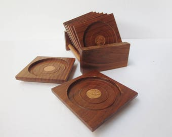 Vintage Wooden Set of Coasters With Holder  - Set of 8 Teak Coasters With Inlaid Canadian Coin -