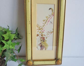 Vintage Art Print - Gold Frame With Nature Print - Gold Wall Art - Vintage Floral Bird Print - Rectangular Gold Frame  c. 1960
