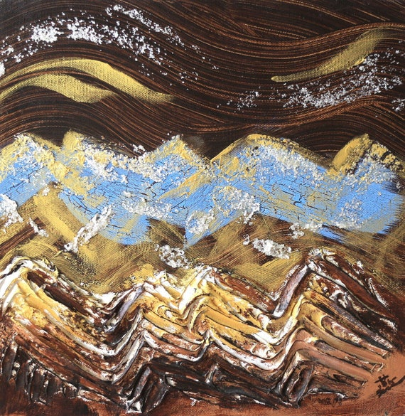 "12"" x 12"" mini abstract landscape art painting brown gold white mountain impressionistic"