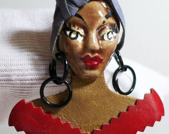 Artist Made Brooch African Woman Pottery Leather Red Gray Black Ethnic  Earrings