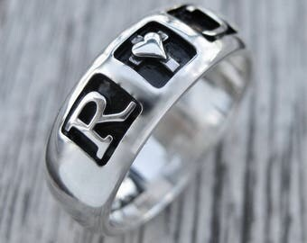 Romeo & Juliet Ring with Custom Star Wars Font Engraving Cast in Sterling Silver Size 7
