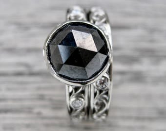 Rose Cut Black Diamond Engagement and Wedding Ring Set in Palladium - RESERVED for Nick - Final