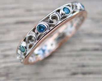 Blue Diamond Wedding Ring in Two Tone 14K White and Rose Gold with Vintage Inspired Floral Scroll Work Size 6