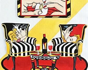 Roy Lichtenstein, Pop art painting, Pop Art Furniture, Painted Chairs,Lichtenstein, Pop art, Wall art painting,