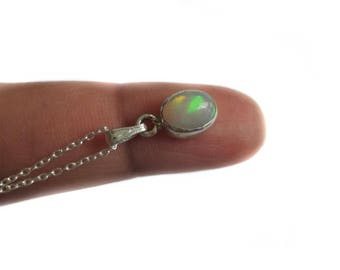 Small Ethiopian Opal Necklace In Silver, Oval Welo Opal Necklace, Ethiopian Opal Pendant, Gift For Her, Bridal Necklace, OCTOBER BIRTHSTONE