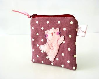 violet purse cute purse cat coin purse for girls kawaii maroon polka dot zipper pouch coin wallet cat lovers gift red wine purse
