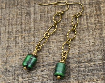 Long brass chain earrings with vintage German green glass beads, French hooks, dangle