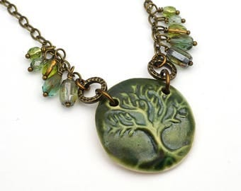 Tree of Life necklace, antiqued brass chain, green 21 inches long