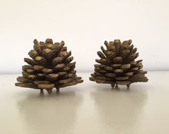 Vintage Solid Brass Pine Cone Candlestick Candle Holders - Pair / Set of Two - Fall Autumn Winter Decoration - Thanksgiving or Christmas