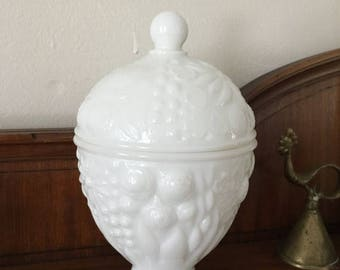 Christmas Sale Vintage Milk Glass Candy Dish Egg Shaped Lidded Easter Box Container