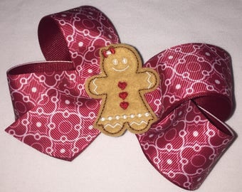Red quarterfoyle Christmas  gingerbread  girls hair bow boutique  hair bows
