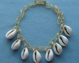 Vintage Shell Necklace With Celluloid Chain
