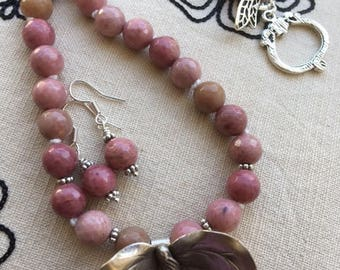 Rhodonite and silver orchid necklace