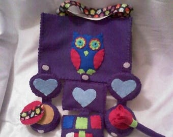 Flash Sale Purple, Pink, Lime Green and Blue Owl Felt Make-up Set with Eye Shadow