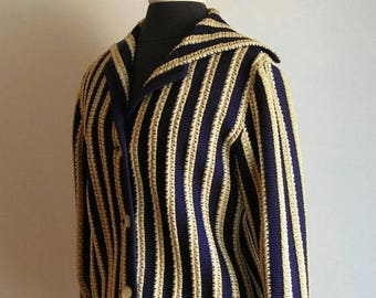 Vintage Blue and Beige Wide Stripe Wool Cardigan Sweater with Sailor Neckline