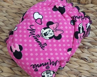 Minnie Mouse - One Size (11-35#) Cotton Fleece HYBRID Fitted Cloth Diaper