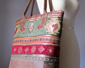 Bohemian Leather Shoulder Tote Bag, Fabric Leather bag, Shopping bag, Modern Hippie bag Kilim bag carry all bag, Handmade by VitalTemptation