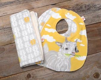 Organic Baby Gift Pack - 2 Organic Cotton Baby Bibs & 1 Organic Cotton Burp Cloth