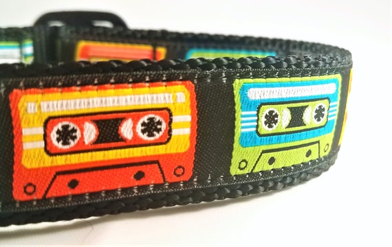 Old School - Dog Collar / Adjustable / Buckle / Martingale / Tapes / Large Dog Collar / Mix Tape / Retro / Pet Collar