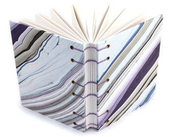 Purple and Blue Agate Journal #1 -  Handmade book with Marbled paper covers made by Ruth Bleakley
