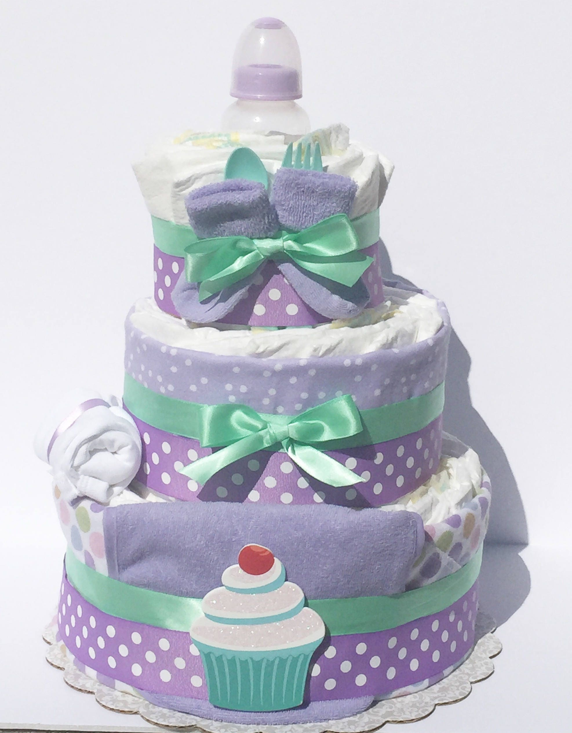 Cupcake Diaper Cake, Cupcake Baby Shower Decorations, Lavender Mint Diaper  Cake, Lavender Baby Shower Decorations, Mint Baby Shower Supplies