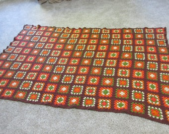 Granny Square Afghan Autumn Browns and Greens Colors 50 x 75 Inches