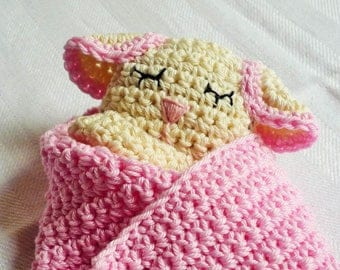 Baby Blanket Pattern - Sheep Blanket  - Baby Lovey Pattern - Sheep Lovey - Lamb Lovey - Crochet Blanket - Baby Shower Gift - Baby Girl Lovey
