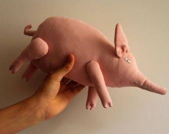 Pig. Big pink pig. Soft sculpture