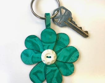 Teal Leather Flower Key Ring with Vintage Button