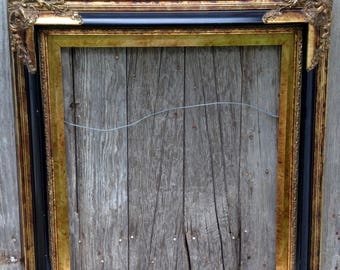 Vintage Gold/Black Picture Frame Hollywood Regency Victorian S & B Taiwan