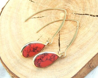 Howlite Earrings, Red Howlite Earrings, Gold Teardrop Earrings, Long Dangle Earrings
