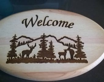 DEER SCENE ( mountains & trees)  wood sign