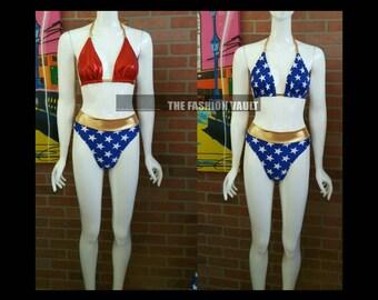 4th of July Handmade Reversible Bikini  Cosplay Wonder woman Dance costume
