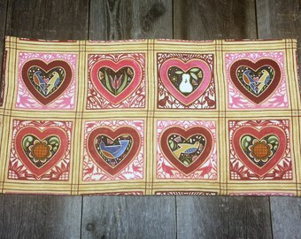 pink and brown hearts and love birds hand quilted table runner, center piece