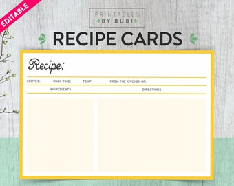 Recipe card template etsy printable recipe card editable recipe card printable diy recipe card bridal shower recipe pronofoot35fo Gallery