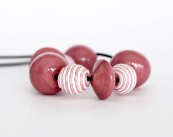 Beaded Necklace Ceramic - big necklace, statement necklace, ceramic necklace - handmade by StudioLeanne