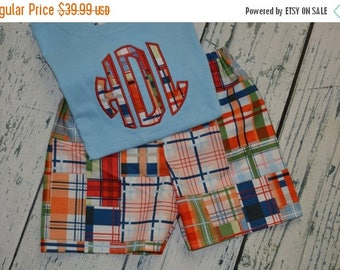ON SALE Boys Outfit Custom Shirt and Plaid Shorts Set PERSONALIZED  monogram