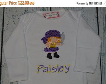 ON SALE Personalized Pirate Girl shirt or Bodysuit Personalized with your colors