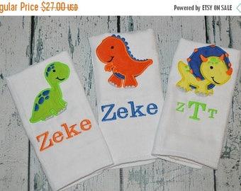 ON SALE Monogrammed Baby Boy Burp cloths, Personalized Dinosaur Burp Cloth Set