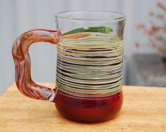 Handblown Red  Glass Mug