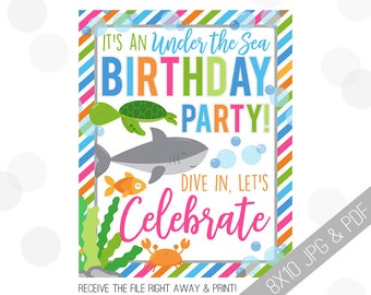 Under the Sea Party Printable Sign | Sea Welcome Sign | Fish Door Sign | Nautical Party Welcome | Turtle Party | Sea Birthday Girl