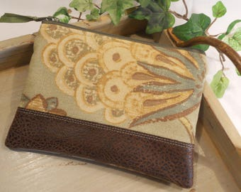 Padded ZIPPER POUCH with Faux Leather Accent