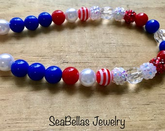 Red white and blue bubble gum necklace , 4th of july, photo shoot, birthday necklace, prop, kids children necklace