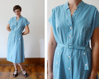 50s Striped Shirt Dress - L