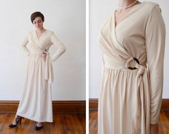 1970s Beige Jersey Dress - S/M