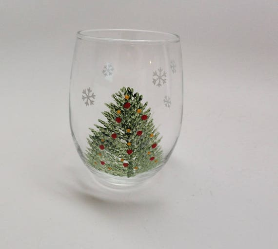 Hand Painted Wine Glass - Christmas tree with red and yellow ornaments and snowflakes in 15 oz stemless wine glass