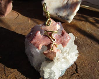 Fancy Jasper Compass Point-Cardinal Direction Pendant~Bronze Wrapped~Protective~Stone~Earth Energies~Primitive Jewelry
